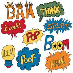 Word clipart comic book Superhero Comic Words art(S006) Art