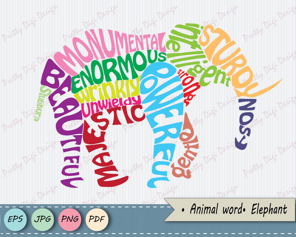 Word clipart elephant PNG Animal word word EPS