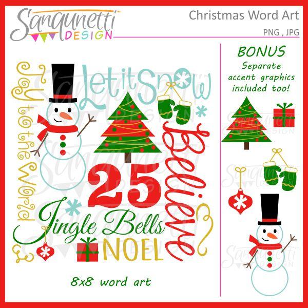 Word clipart noel Art Clipart Word Sanqunetti Christmas