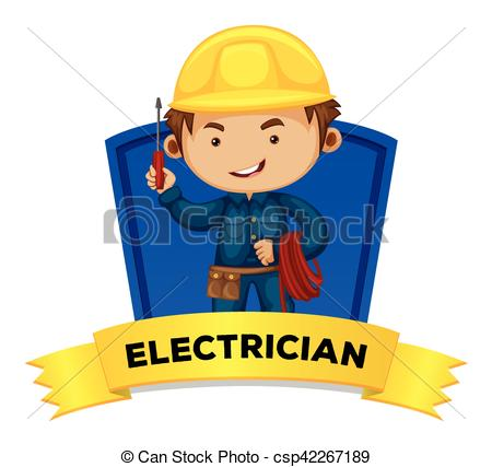 Word clipart occupation Occupation Vector electrician illustration wordcard