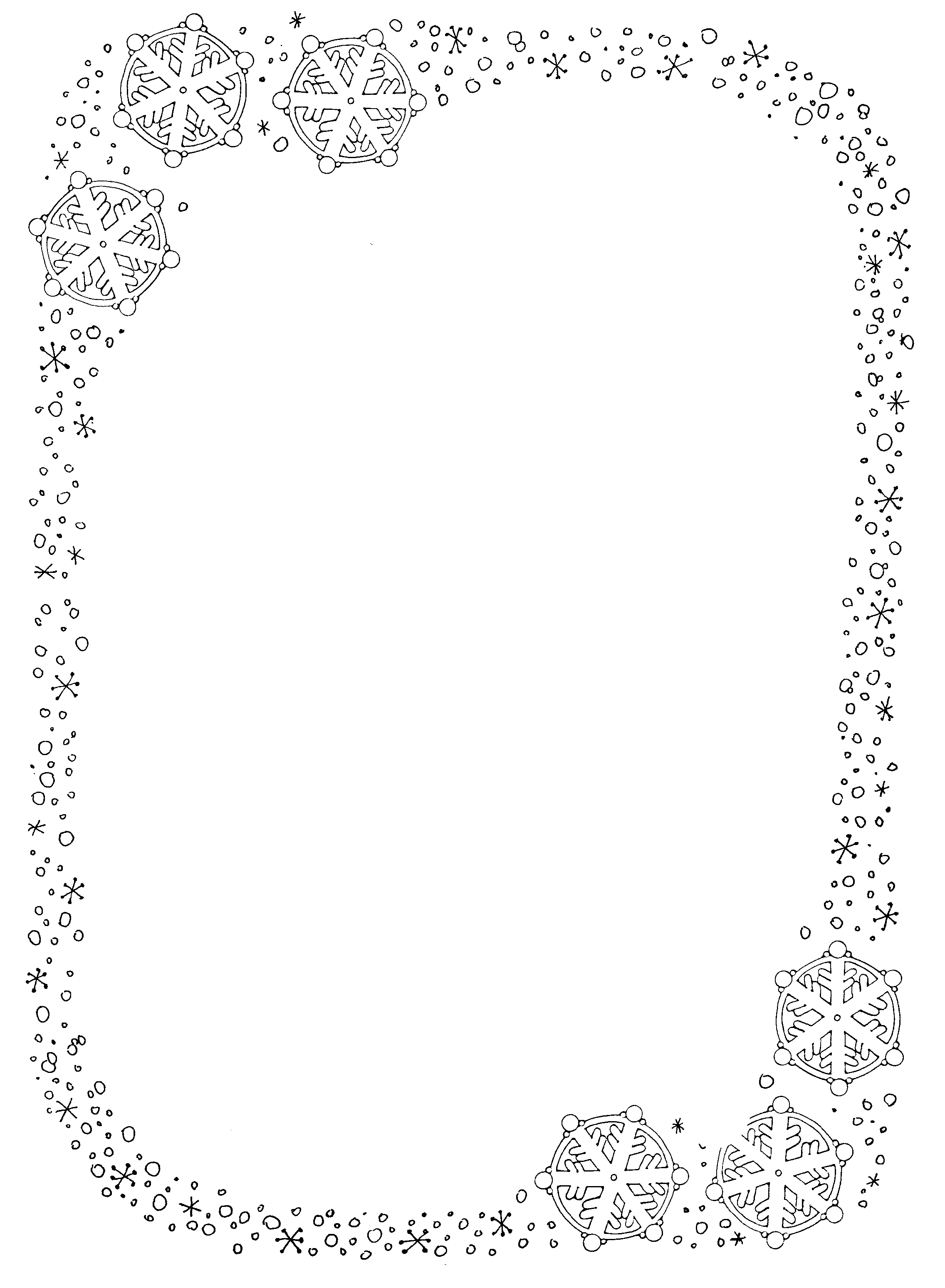 Word clipart snowflake Art Snowflake Border for Clipart