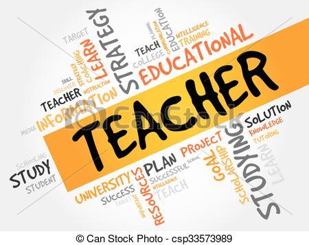 Word clipart teacher Csp33573989 education word TEACHER word