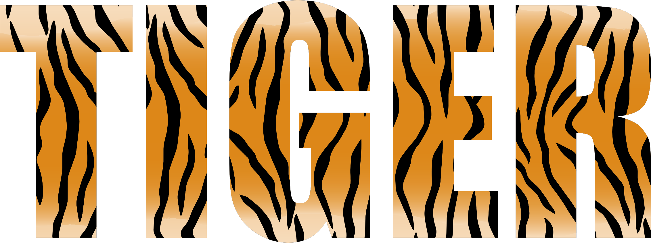 Word clipart tigers Tiger Typography Clipart Tiger Typography