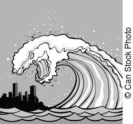 Tsunami clipart black and white Wave monster Tsunami lenm3/290; Illustrations