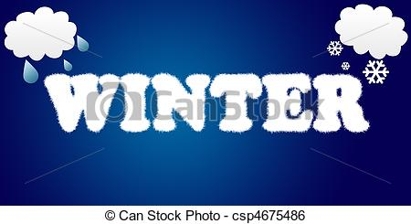 Word clipart winter Word  snow and of
