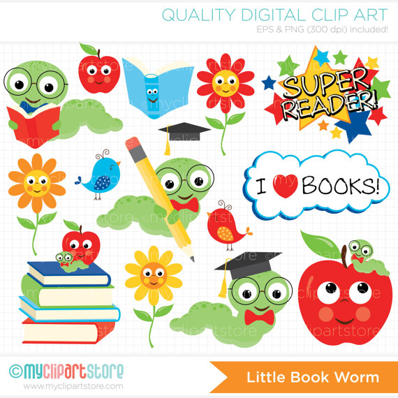 Worm clipart bookworm  To books Back Clipart