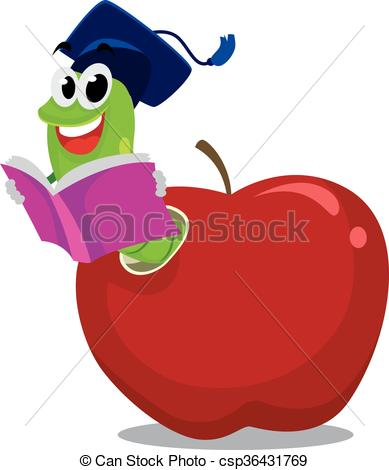 Worm clipart logo Apple hat with Vector Clip