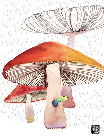 Worm clipart mashroom Watercolor masha « = mushroom