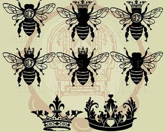 Wreath clipart bee Crown Crown svg Queen Clipart