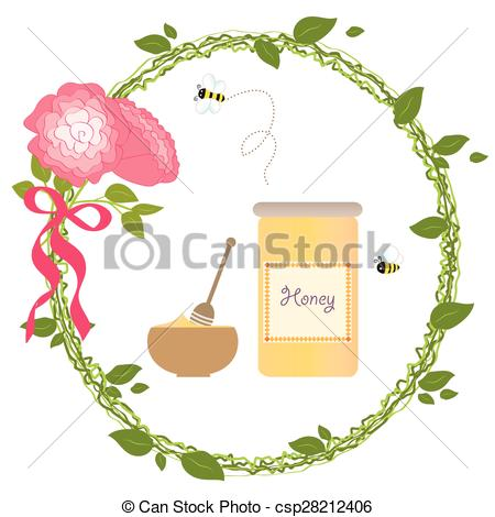Wreath clipart bee Illustration Flower Rose Gold Honey