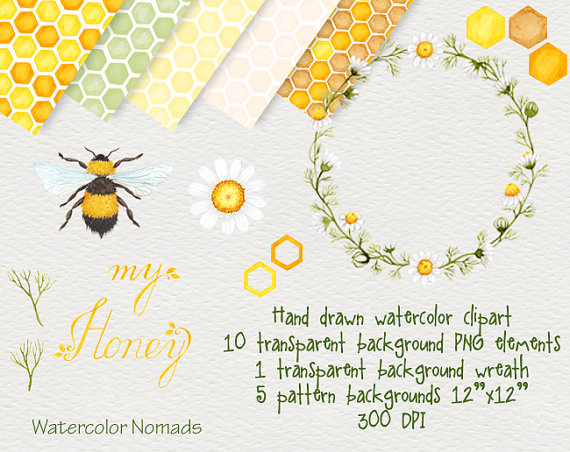 Wreath clipart bee Watercolor clipart WatercolorNomads My honeycomb