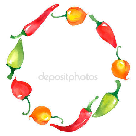 Wreath clipart chili pepper With  Watercolor wreath Royalty