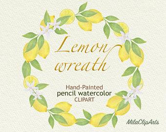 Wreath clipart citrus Citrus Citrus pencils wreath wreath