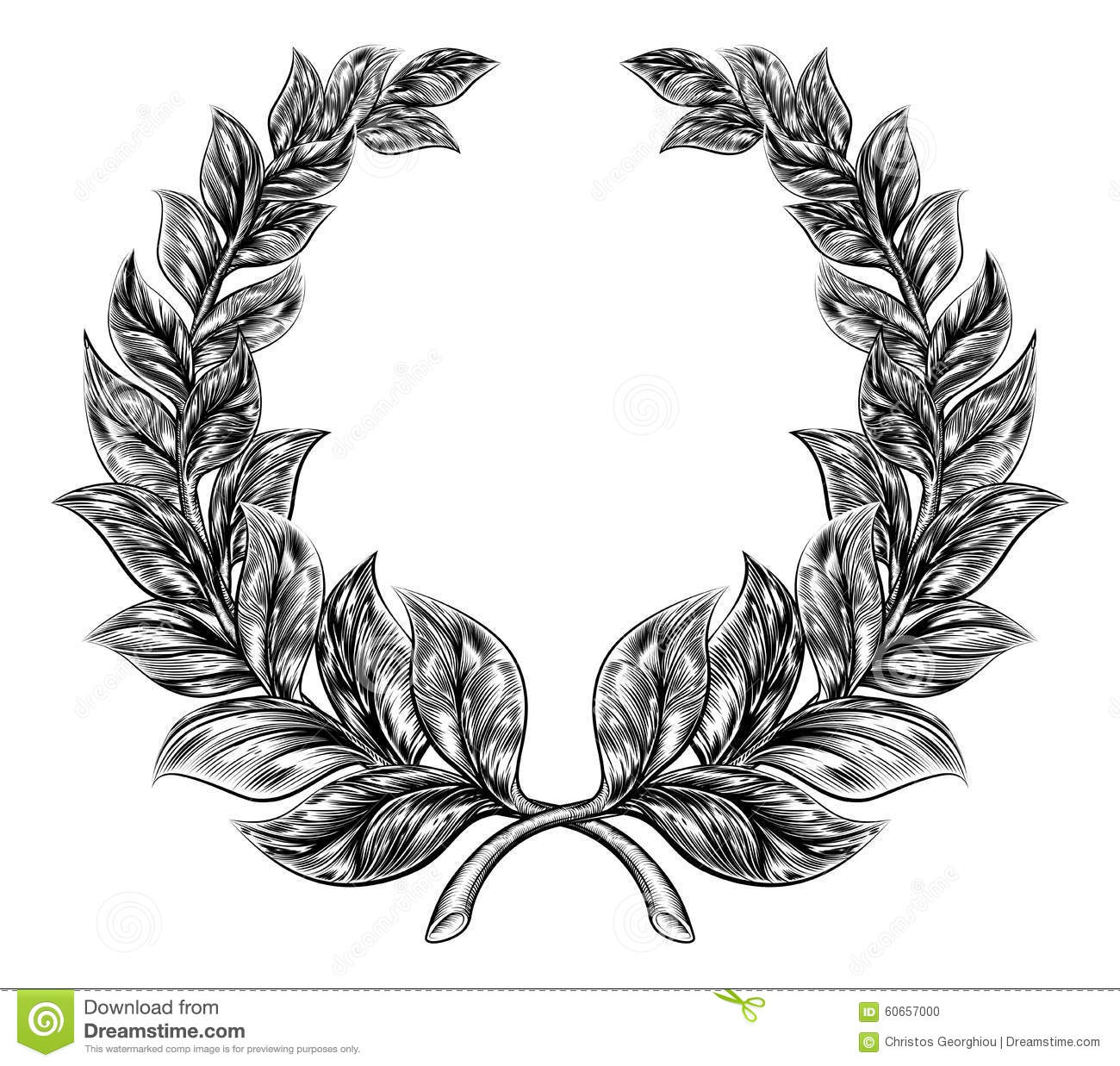 Wreath clipart fancy Fancy wreath collection Woodcut wheat