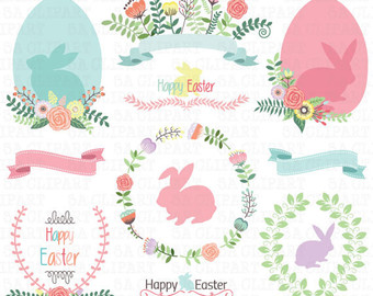 Wreath clipart happy easter Flower Clip Art Bunny Easter