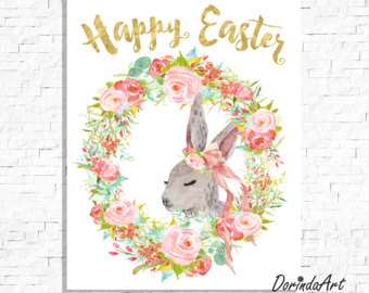 Wreath clipart happy easter Watercolor Etsy Printable Easter easter