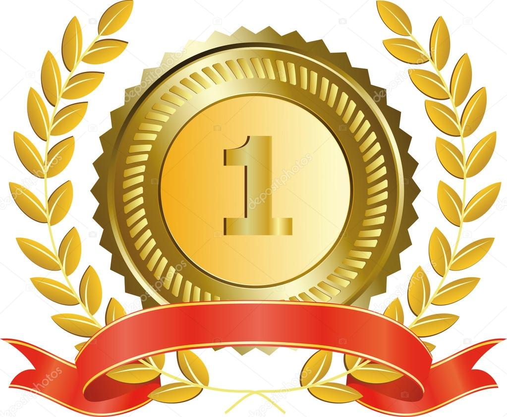 Wreath clipart medal Stock laurel medal and Gold