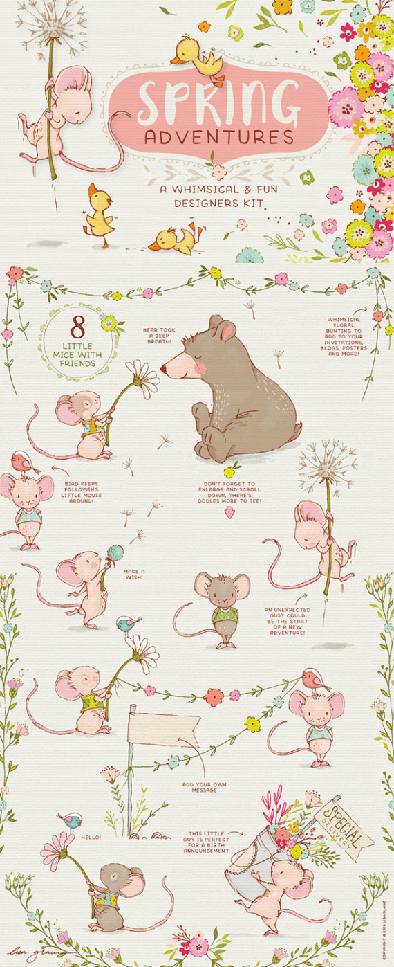 Wreath clipart mouse Floral girl baby decor clipart