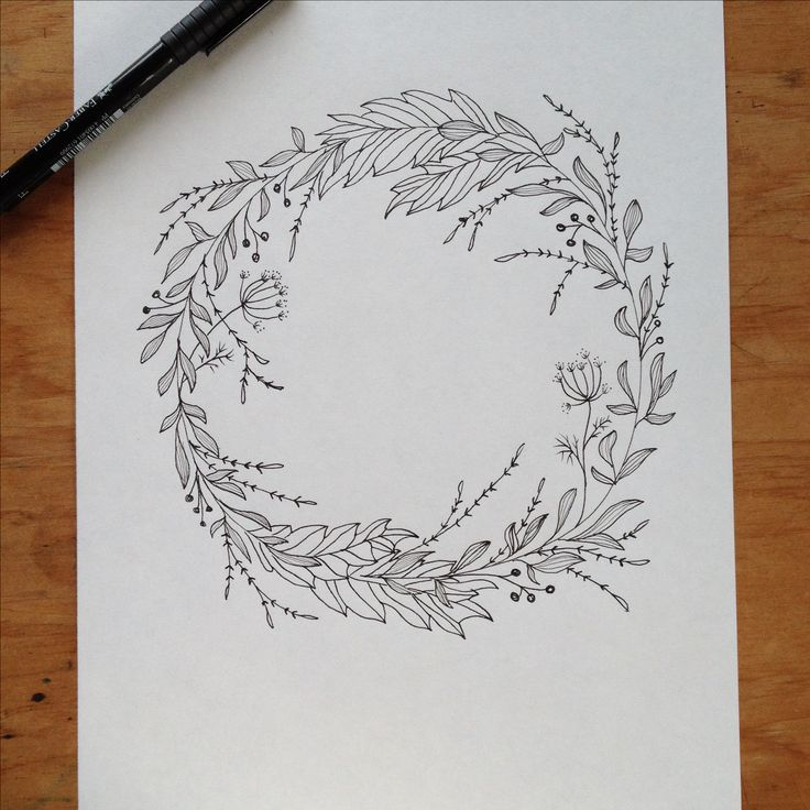 Wreath clipart old pen Wreath // Wedding drawing com