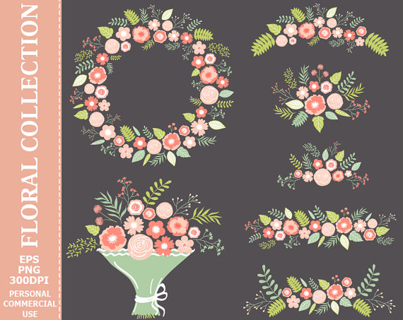 Wreath clipart pastel flower 1 Commercial Art and Personal