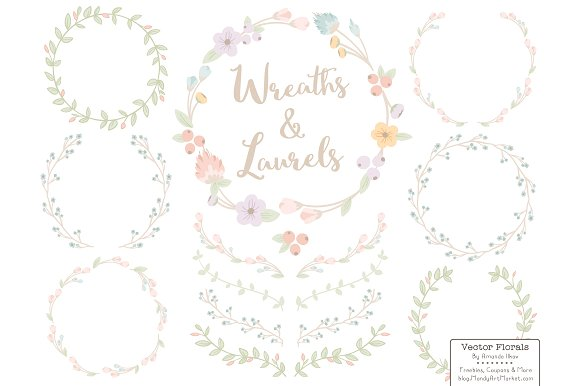 Wreath clipart pastel flower Market Creative Flower Flower Pastel