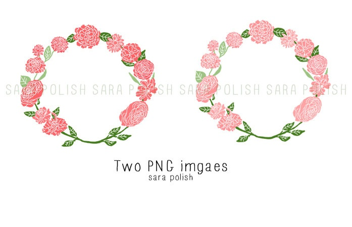 Wreath clipart pastel flower Clipart wreath coral clip flower