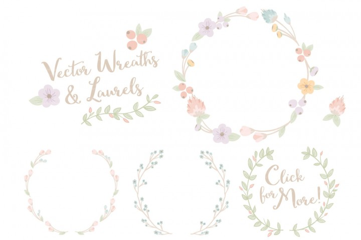 Wreath clipart pastel flower Laurels & Vectors by Amanda