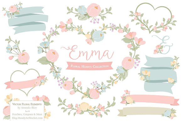 Wreath clipart pastel flower On Illustrations Creative Market Floral