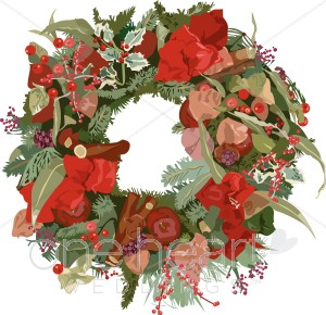 Wreath clipart retro christmas Wedding Clipart Wreath Christmas Clipart