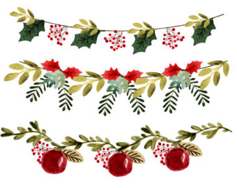 Wreath clipart retro christmas Clipart wreath Christmas christmas watercolor