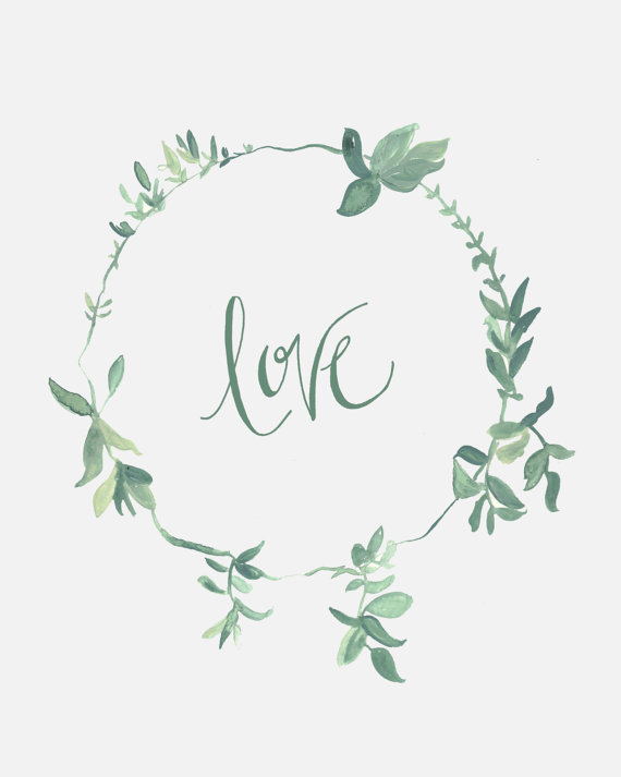 Wreath clipart sage Calligraphy 10 Love Watercolor x