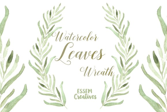 Wreath clipart sage Wreath Leaf Watercolor Illustrations Watercolor