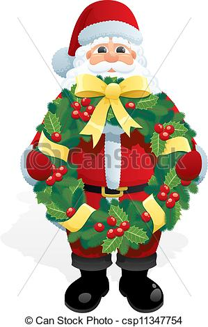 Wreath clipart santa Christmas Santa csp11347754 Wreath holding