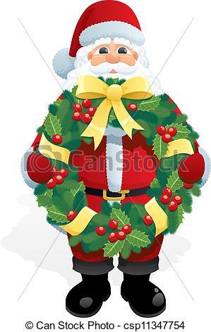 Wreath clipart santa Vector csp11347754 holding Santa Wreath