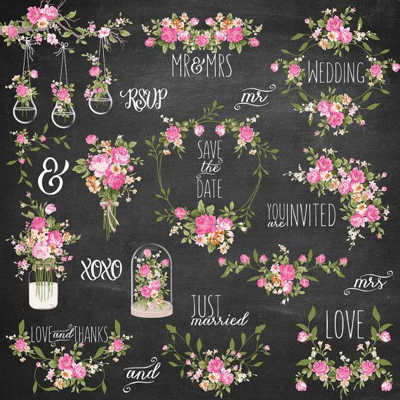 Wreath clipart shabby chic Hanging Shabby jar date Clipart