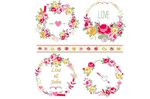Wreath clipart shabby chic Roses roses on chic set