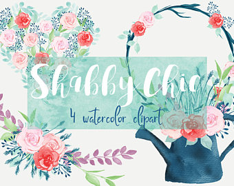 Wreath clipart shabby chic Watercolor clipart Shabby chic floral