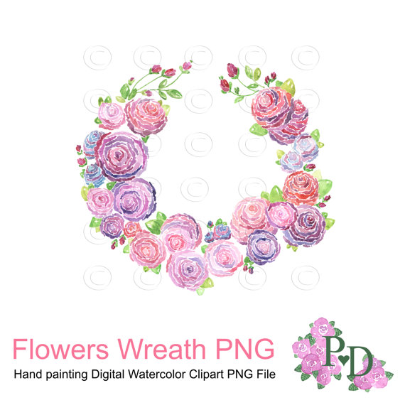 Wreath clipart shabby chic And Purple Wreath Wreath Watercolor