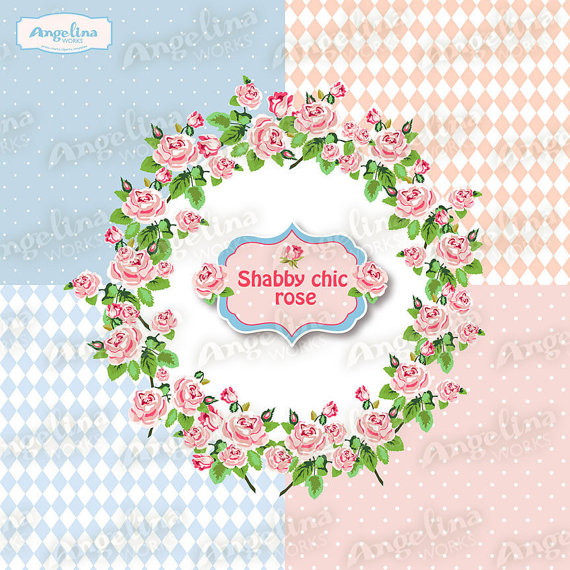 Wreath clipart shabby chic Art Scrapbooking Rose Floral Studio