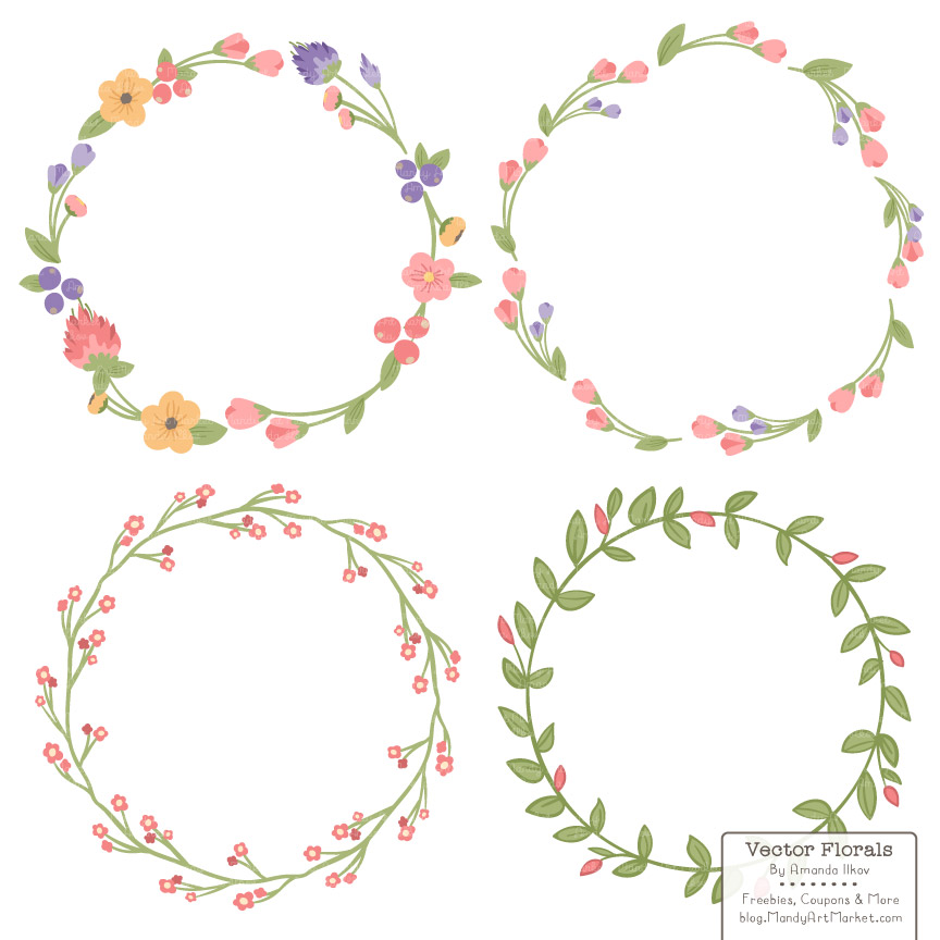 Wildflower clipart simple flower Free Coral clipart wreath clipart