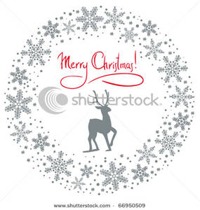 Wreath clipart snowflake Art Merry Text with Text