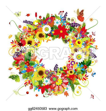 Wreath clipart spring wreath Floral Wreath Spring Free Four