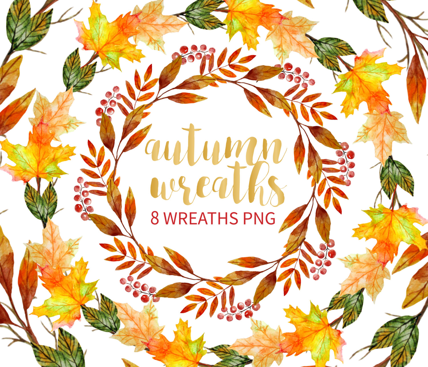 Wreath clipart thanksgiving Watercolor Autumn This digital Drawn