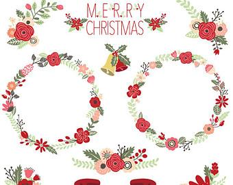 Wreath clipart vintage christmas wreath