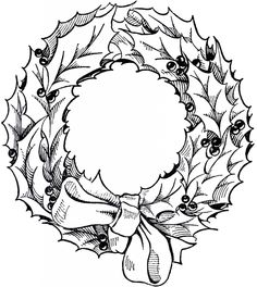 Wreath clipart vintage christmas wreath Papers Vintage Christmas Drawing Wreath