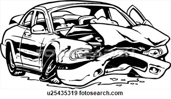 Wreck clipart black and white Car of car: Broken accident