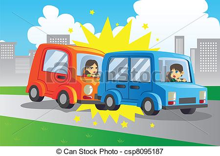 Crash clipart rear end collision A of accident Vectors illustration