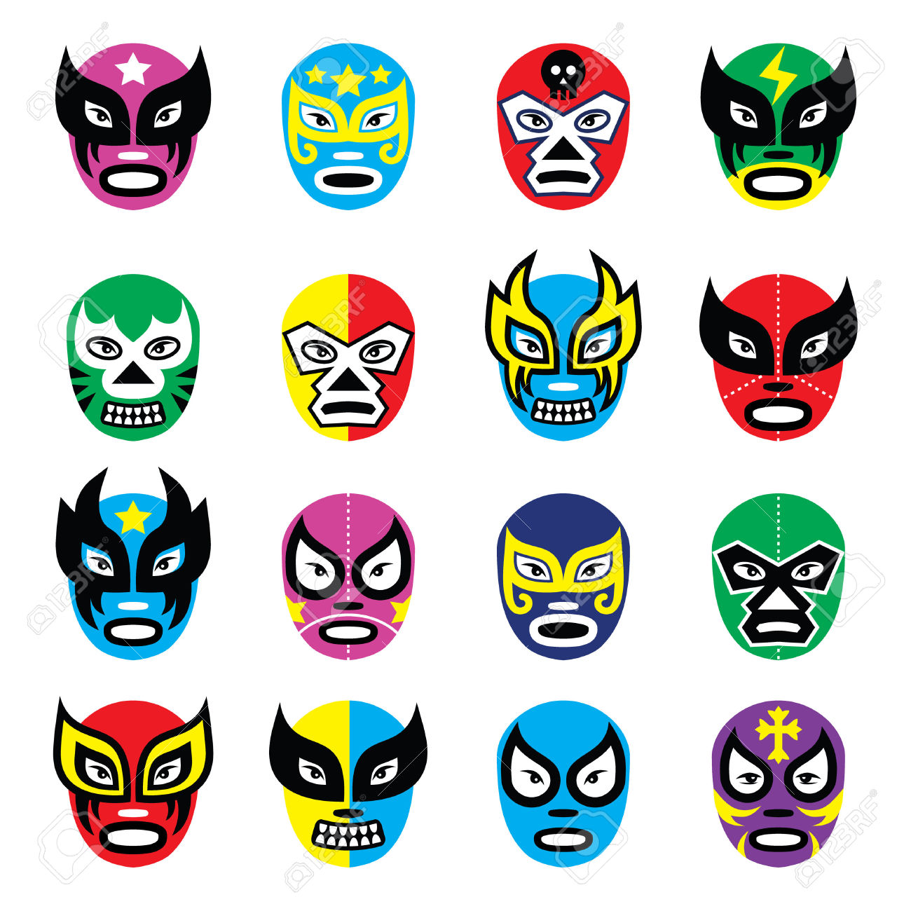 Wrestler clipart lucha libre Vectors Masks Wrestling Mexican Libre