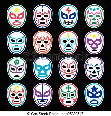 Wrestler clipart lucha libre Libre Mexican icons of wrestling