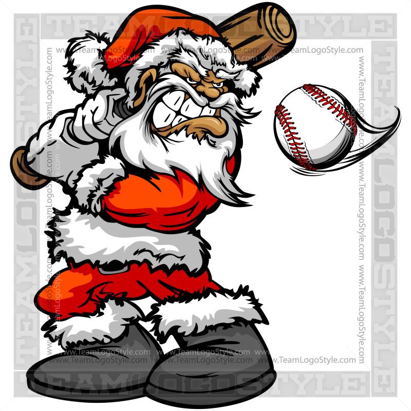 Wrestler clipart santa Logo Clipart Baseball Santa Hitting